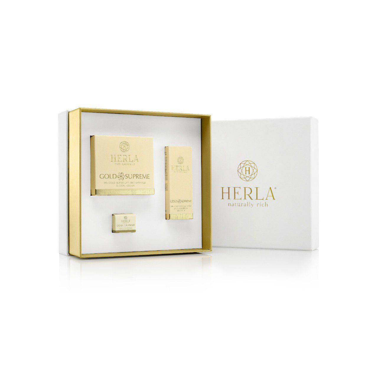 Coffret cadeau Super Anti-ride + Sérum de jeunesse - Visage - GOLD SUPREME - HERLA