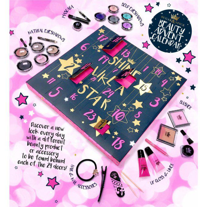 "Lot de 3 calendriers de l'Avent Beauté ""Shine Like a Star"" Sugar & Spice"