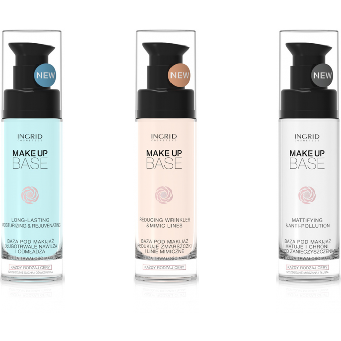 Trio de bases de teint anti-ride, hydratante et matifiante Ingrid Cosmetics - 3 x 30 ml